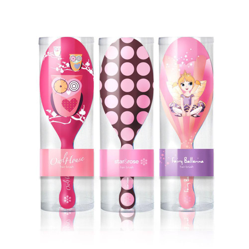 Girls Hair Brush - Fairy - Owls - Polka Dots