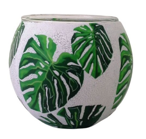 Glass Illusion Votive ' Cheese Plant Leaves' #81