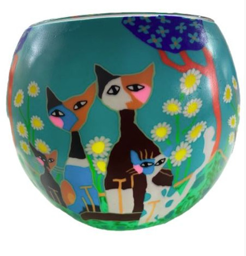 Glass Illusion Votive ' Three Floral Cats' #80