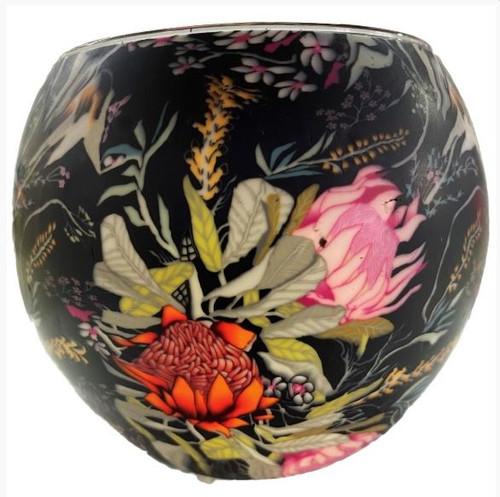 Glass Illusion Votive ' Australian Banksia Flowers' #88