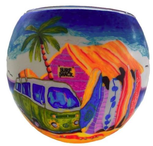 Glass Illusion Votive 'Green Combi & surfboards' #83