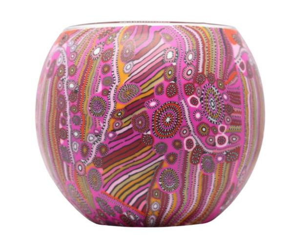 Glass Illusion Votive Indigenous Art - Pink  #15