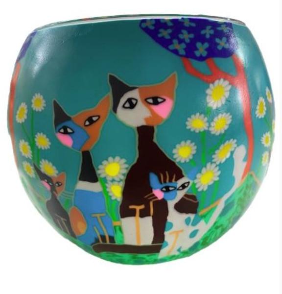 Glass Illusion Votive ' Three Floral Cats' #80