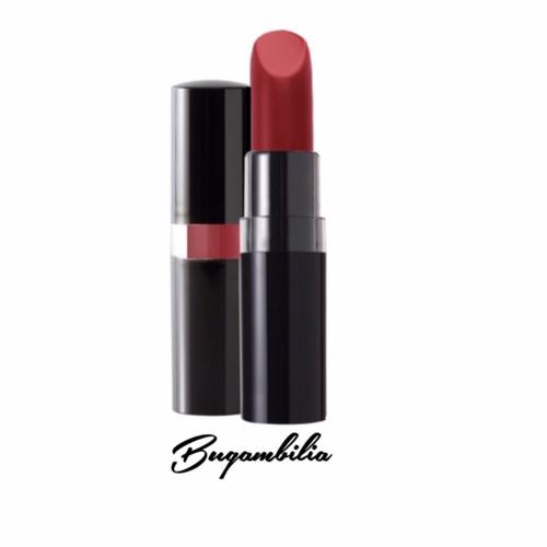A 1940's Delores DelRio style deep burnt red matte lipstick in a black peekaboo case