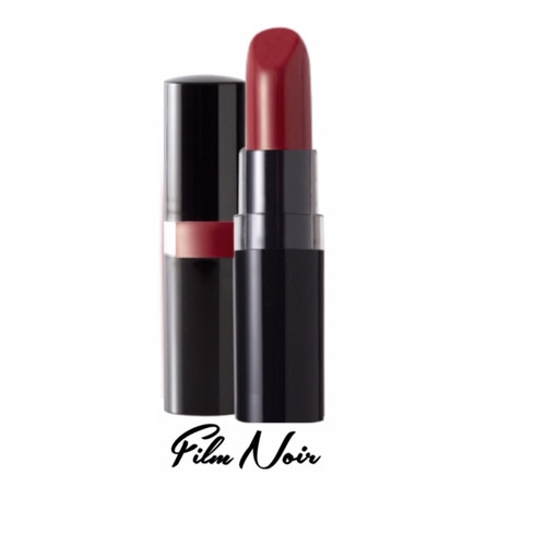 A 1930's Veronica Lake style berry red creme lipstick in a black peekaboo case
