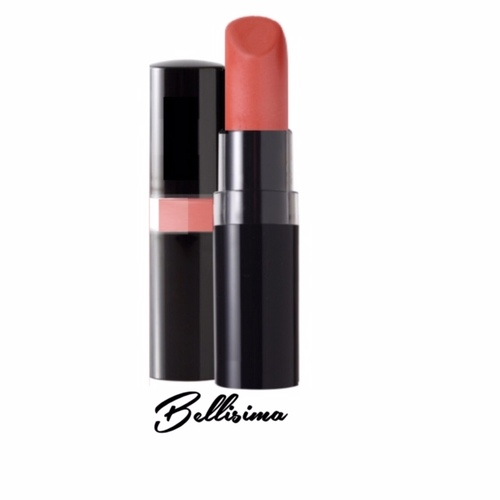 A 1960's Sophia Loren style soft coral peach pearl lipstick in a black peekaboo case