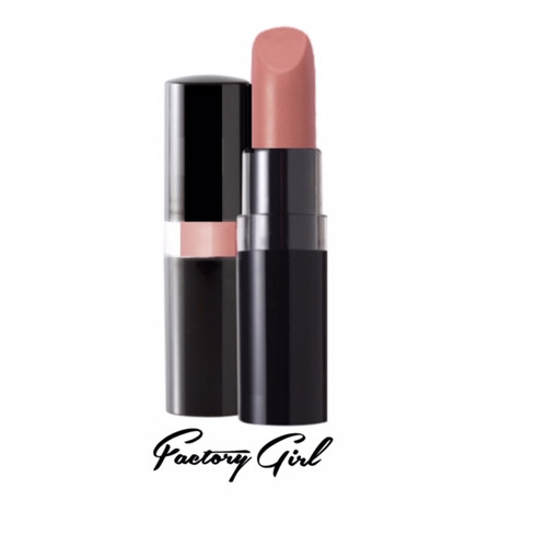 A 1960's Edie Sedgewick style neutral pink pearl lipstick in a black peekaboo case
