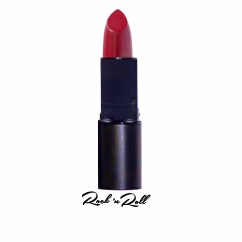 A rockin' deep red creme lipstick in a sleek retro black case