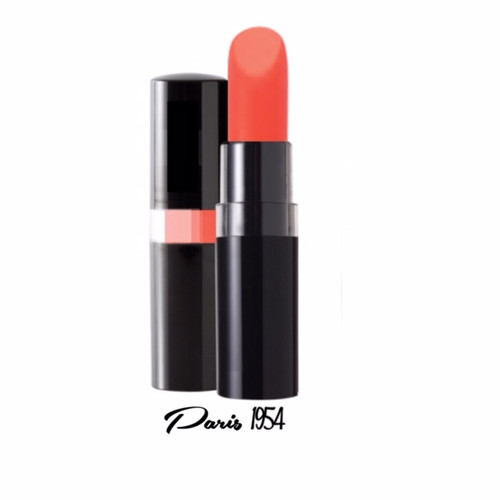 A 1950's Elizabeth Taylor style coral peach creme lipstick in a black peekaboo case