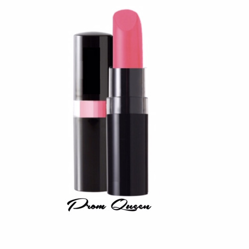A 1950's Prom Queen style bright pink luxe lipstick in a black peekaboo case