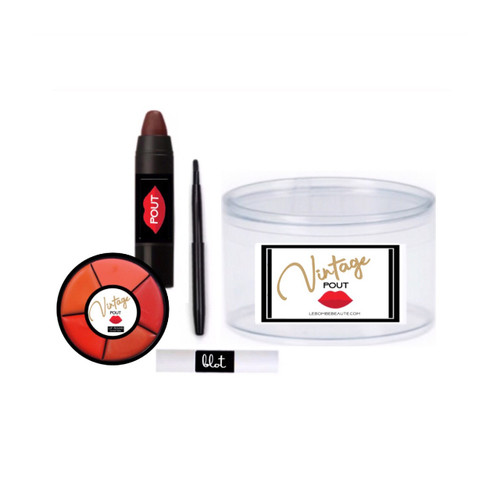Create a one-of-a-kind vintage pout! Contour, color and highlight using Marilyn Monroe's secret trick. Includes contour liner, 5 color lipstick round, blotting papers and retractable lip brush