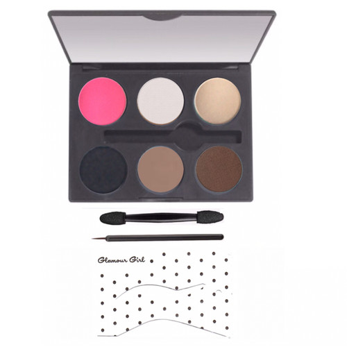 The Goddess Palette includes 4 eyeshadows, 1 blush, 1 cake eyeliner, 2 applicators, a retro stencil, 1940's face chart and  instructions.