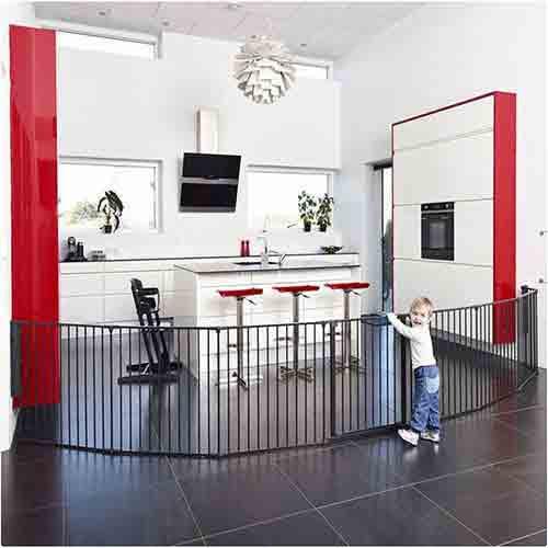 BabyDan Room Divider XXL Black 90-360cm + Wall Fittings