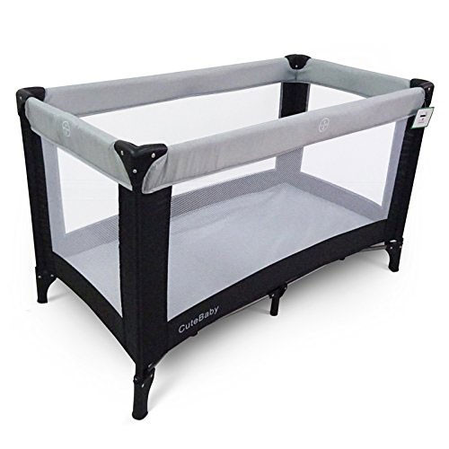 Cute Baby Travel Cot (120cm x 60cm) Grey Main Image