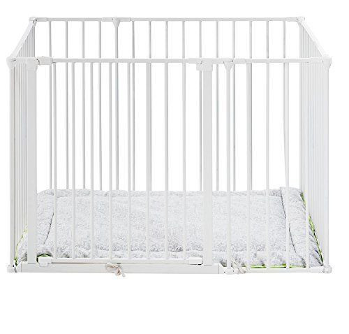 Babydan Square Playpen / Park-A-Kid with Urban Playmat - White