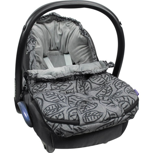 Dooky Luxury Car Seat Footmuff Small Grey Leaves