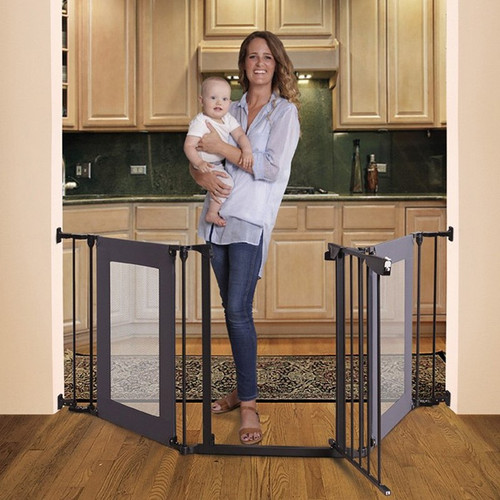 Dreambaby Denver Adapta Gate - Black Metal with Grey Mesh Panels live 2
