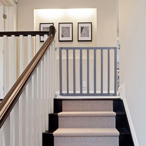 Safetots Chunky Wooden Screw Fit Stair Gate Grey set up