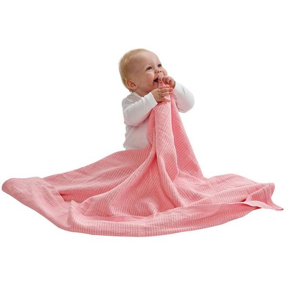BabyDan Cotton Cellular Blanket - Pink