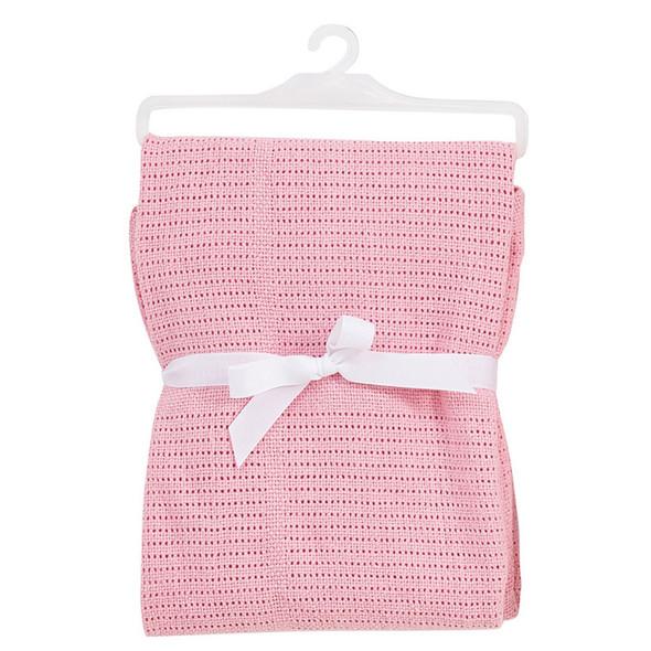 BabyDan Cotton Cellular Blanket - Pink Babydan image 2