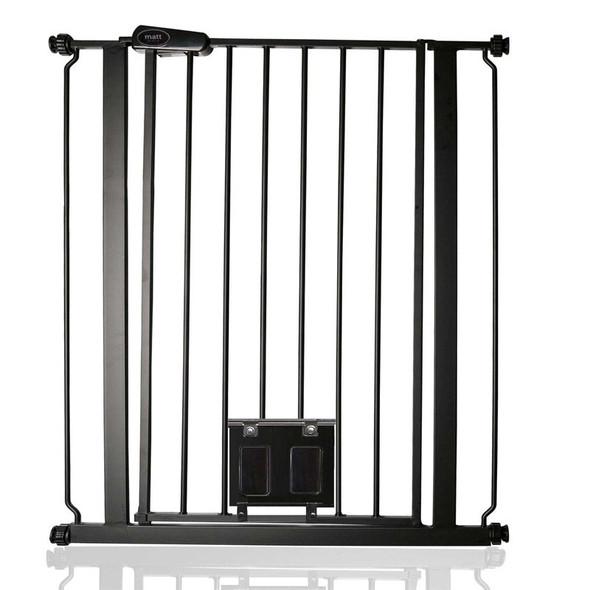 Bettacare Gate with Lockable Cat Flap Matt Black Extra Tall (75-84cm)