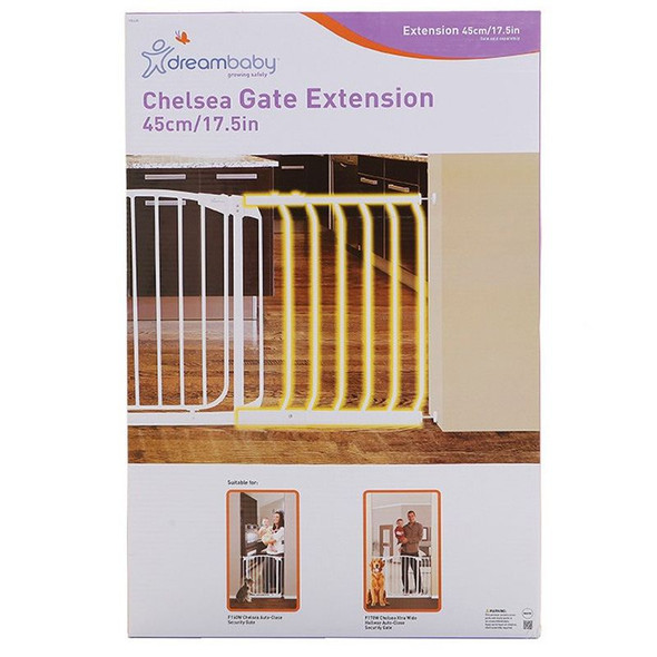Dreambaby Chelsea 45cm Wide Gate Extension (White) box
