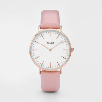 Cluse Boho Chic Rose Gold White/Pink Watch