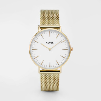 Cluse Boho Chic Mesh Gold/White Watch