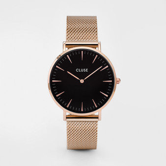 Cluse Boho Chic Mesh Rose Gold/Black Womens Watch CW0101201003