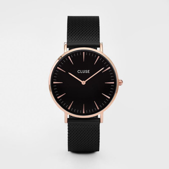 Cluse Boho Chic Mesh Rose Gold Black/Black Watch CW0101201010