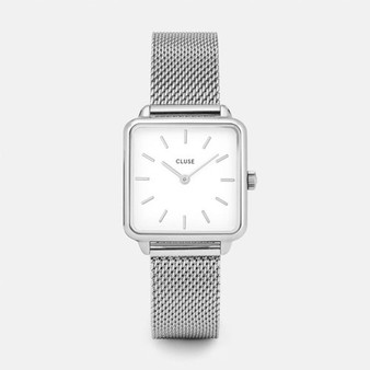 Cluse La Tetragone Silver Mesh/White Watch CW0101207003