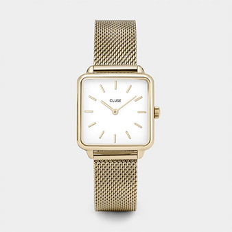 Cluse La Tetragone Gold Mesh/White Watch CW0101207002