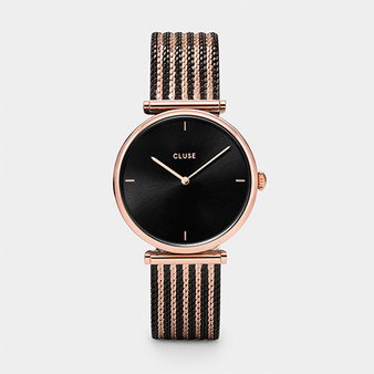 Cluse Triomphe Bicolor Rose Gold Black/Black Mesh Watch  CW0101208005
