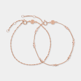 Cluse Essentielle Rose Gold Set of Two Twisted and Hexagon Chain Bracelets CLJ10019