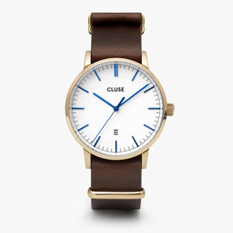 Cluse Mens Aravis Gold White/Dark Brown Nato Watch CW0101501007