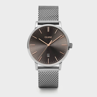 Cluse Mens Aravis Silver Dark Grey/Silver Mesh Watch CW0101501003