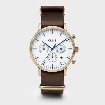 CLUSE Mens Aravis Chronograph Gold White/Dark Brown Nato Watch CW0101502009