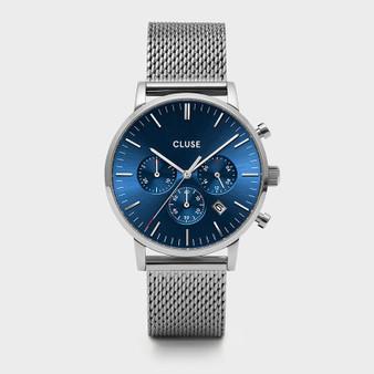 CLUSE Mens Aravis Chronograph Silver Dark Blue/Silver Mesh Watch CW0101502004