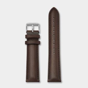 Cluse 20mm Leather Watch Strap Silver/Dark Brown CS1408101065