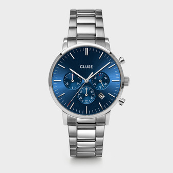 Cluse Mens Aravis Chronograph Silver Dark Blue/Silver Link Watch CW0101502011