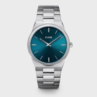 CLUSE Vigoureux Mens Silver Petrol Blue/Silver Link Watch