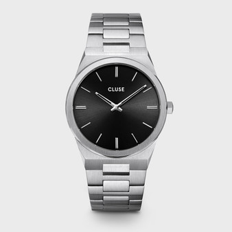 CLUSE Vigoureux Mens Silver Black/Silver Link Watch CW0101503004