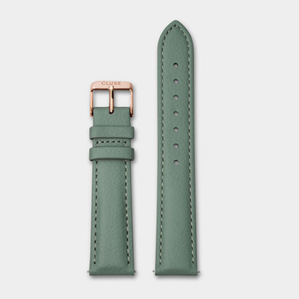 Cluse 18mm Watch Strap Stone Green/Rose Gold Leather CS1408101087