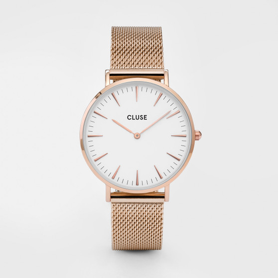 Cluse Boho Chic Mesh Rose Gold/White Watch