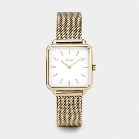 Cluse La Tetragone Gold Mesh/White Watch CW0101207002