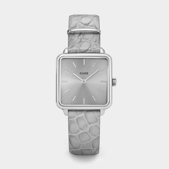 Cluse La Tetragone Silver / Soft Grey Alligator Watch CL60018