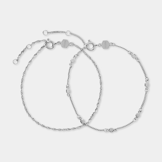 Cluse Essentielle Silver Set of Two Twisted and Hexagon Chain Bracelets