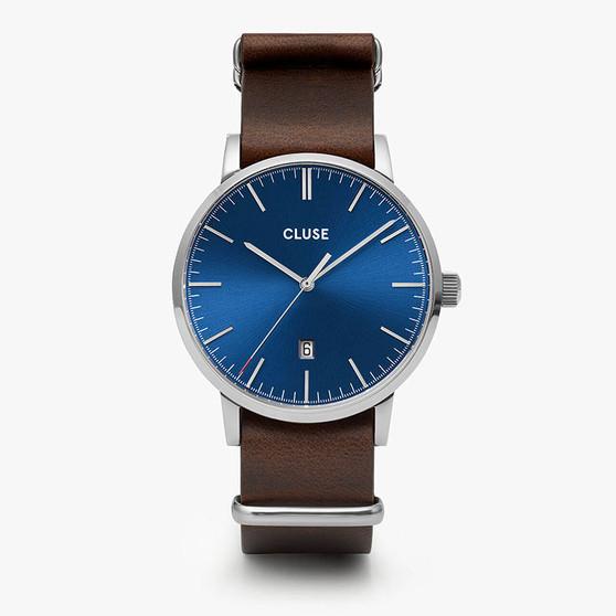 Cluse Mens Aravis Silver Dark Blue/Dark Brown Nato Watch CW0101501008