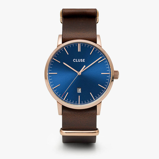 Cluse Mens Aravis Rose Gold Dark Blue/Dark Brown Nato Watch CW0101501009