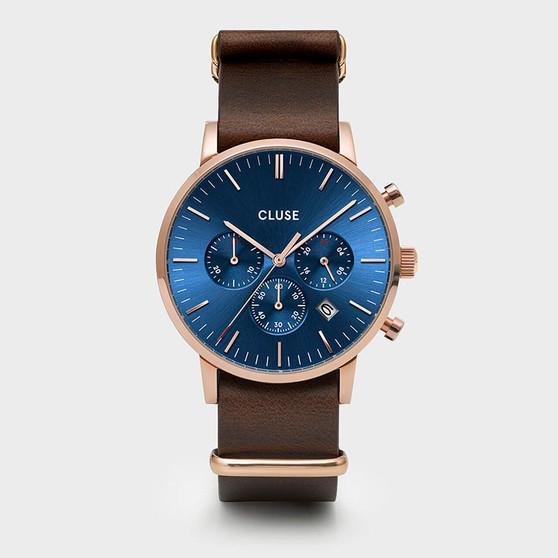 CLUSE Mens Aravis Chronograph Rose Gold Dark Blue/Brown Nato Watch CW0101502008